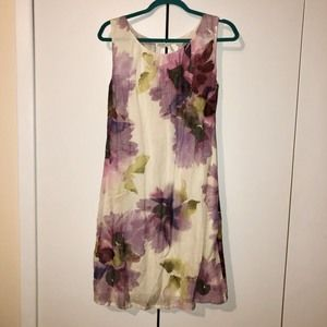Ann Taylor Loft Watercolor Floral Linen Dress 10